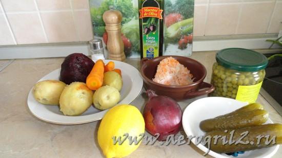 Витаминный винегрет из печеных овощей