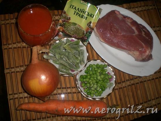тушеная индейка с овощами