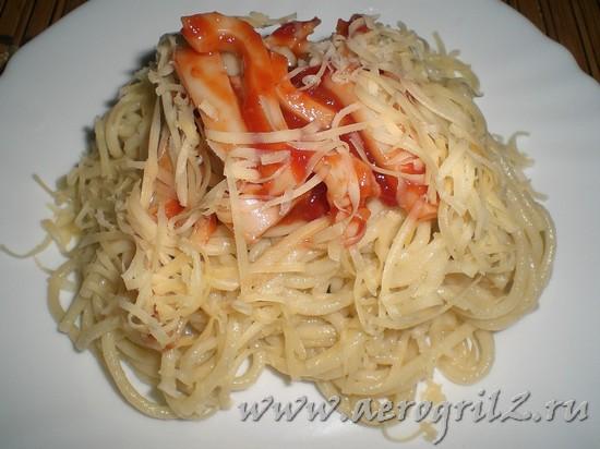 Готовим кальмары со спагетти