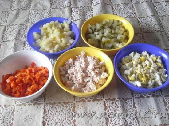 как приготовить салат оливье с курицей