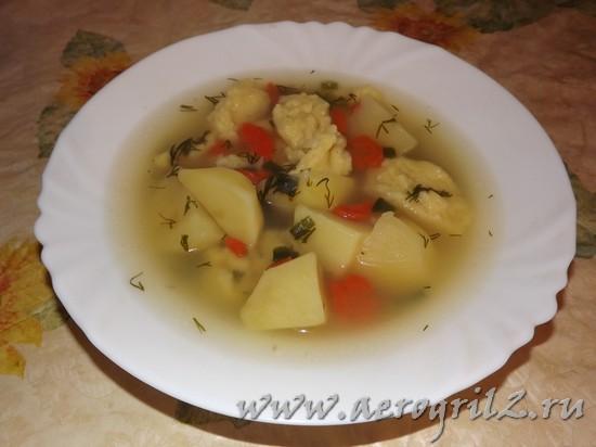 готовый суп с клецками в мультиварке